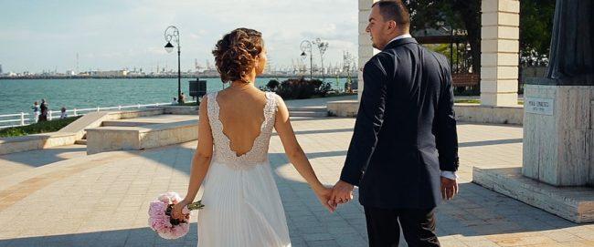 Filmare cu mirii in ziua nuntii la Mamaia