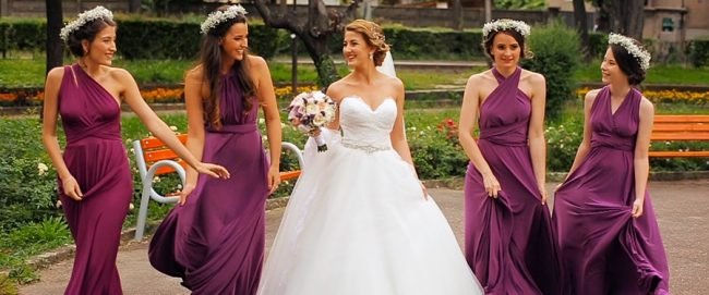Filmare in ziua nuntii la Satu Mare cu mireasa si domnisoarele ei de onoare