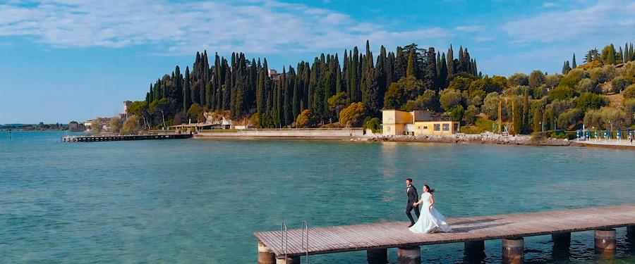 Filmare sedinta aftershooting pe mal de lac - Italia