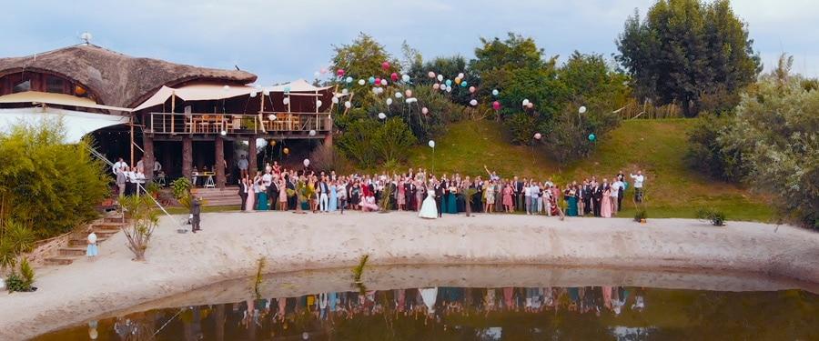 Lansare baloane la nunta in aer liber